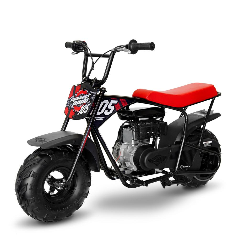 Monster Moto Red and Black 105 cc Gas Mini Bike with Mag Wheels-MM-B105-RBM - The Home Depot