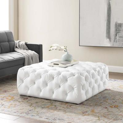 Anthem White Tufted Button Large Square Faux Leather Ottoman