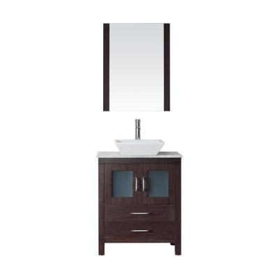 Dior 24 in. W Bath Vanity in Espresso with Vanity Top in White Marble with Square Basin and Mirror and Faucet