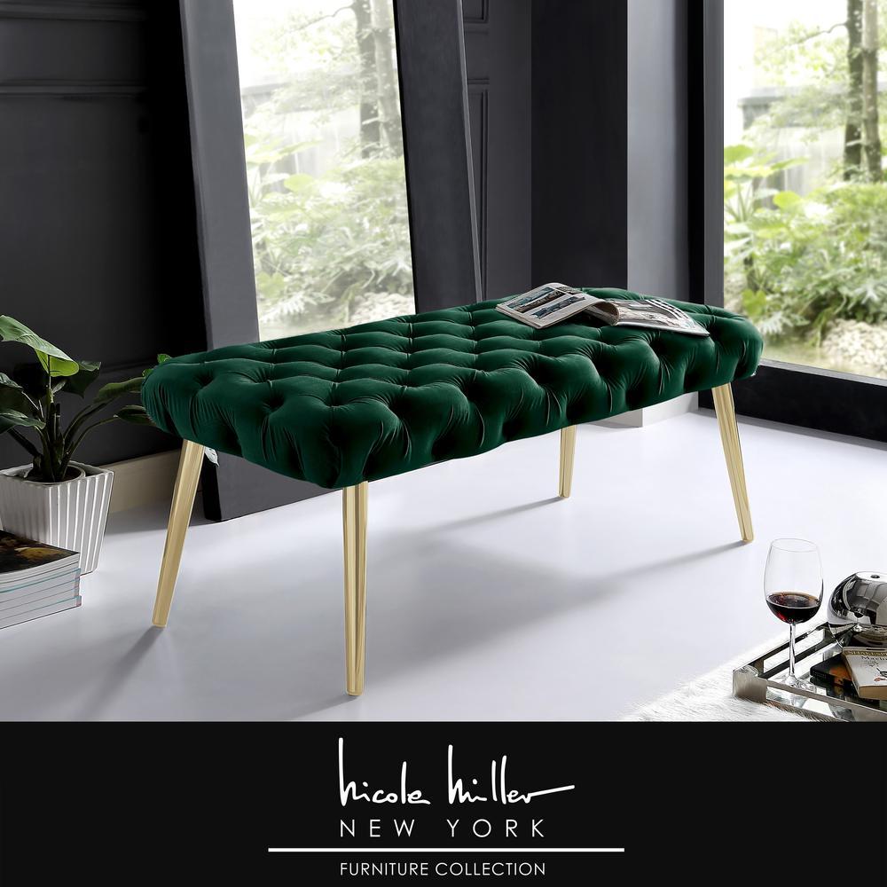 Nicole Miller Shannyn Hunter Green Gold Velvet Bench With Button Tufted Metal Leg Nbh130 02hg Hd The Home Depot