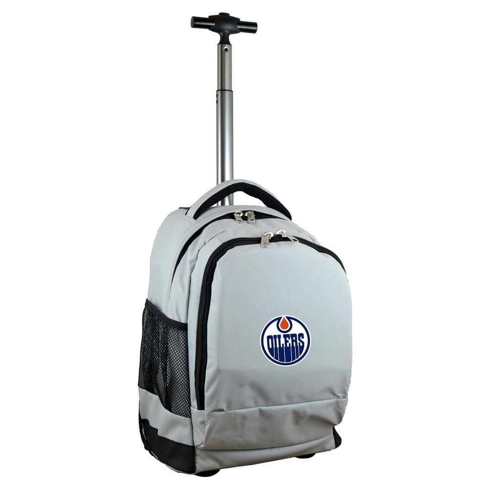 NHL Edmonton Oilers 19 in. Gray Wheeled Premium Backpack
