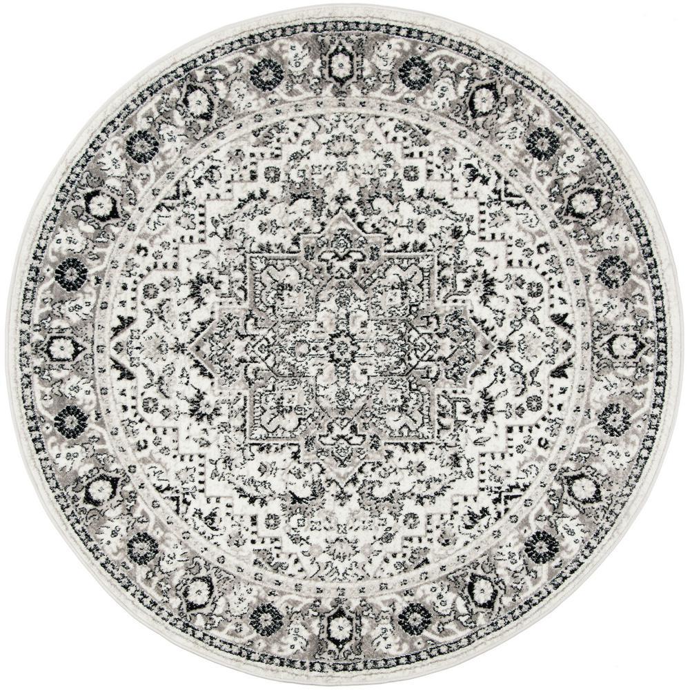 Skyler Gray/Ivory 7 ft. x 7 ft. Round Area Rug