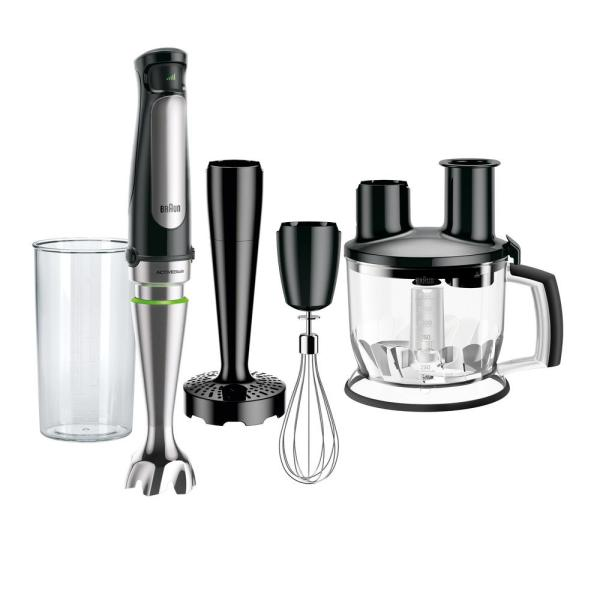 MultiQuick MQ7077X SmartSpeed SS Immersion Hand Blender w/ 1.5 C Food Processor, Whisk, Masher and Beaker