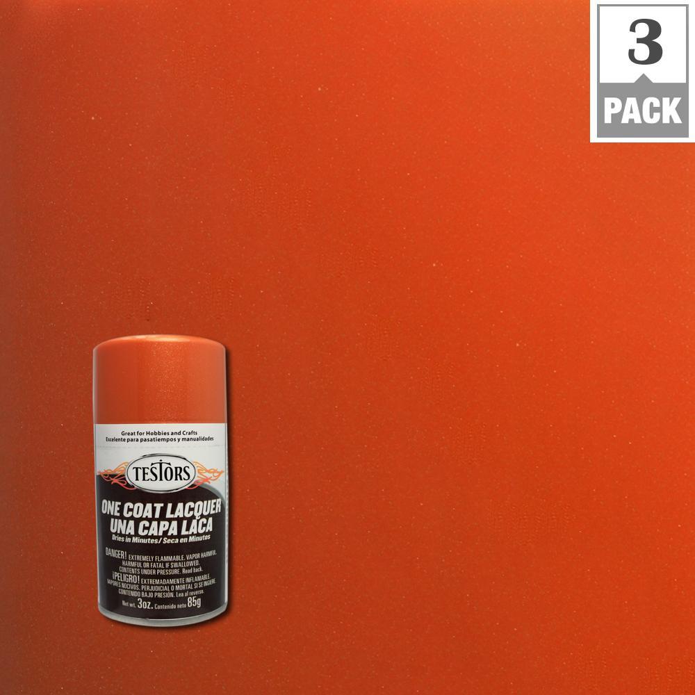 Testors 3 oz. Fiery Orange Lacquer Spray Paint (3-Pack)
