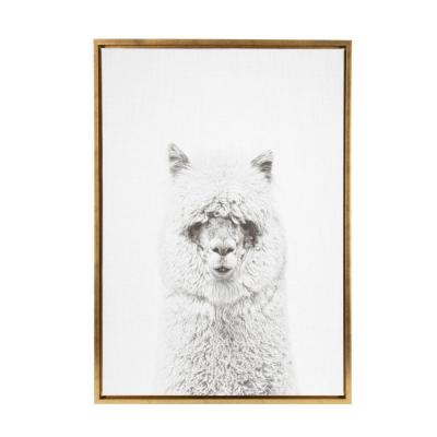 "Sylvie ""Hairy Alpaca"" by Tai Prints Framed Canvas Wall Art"