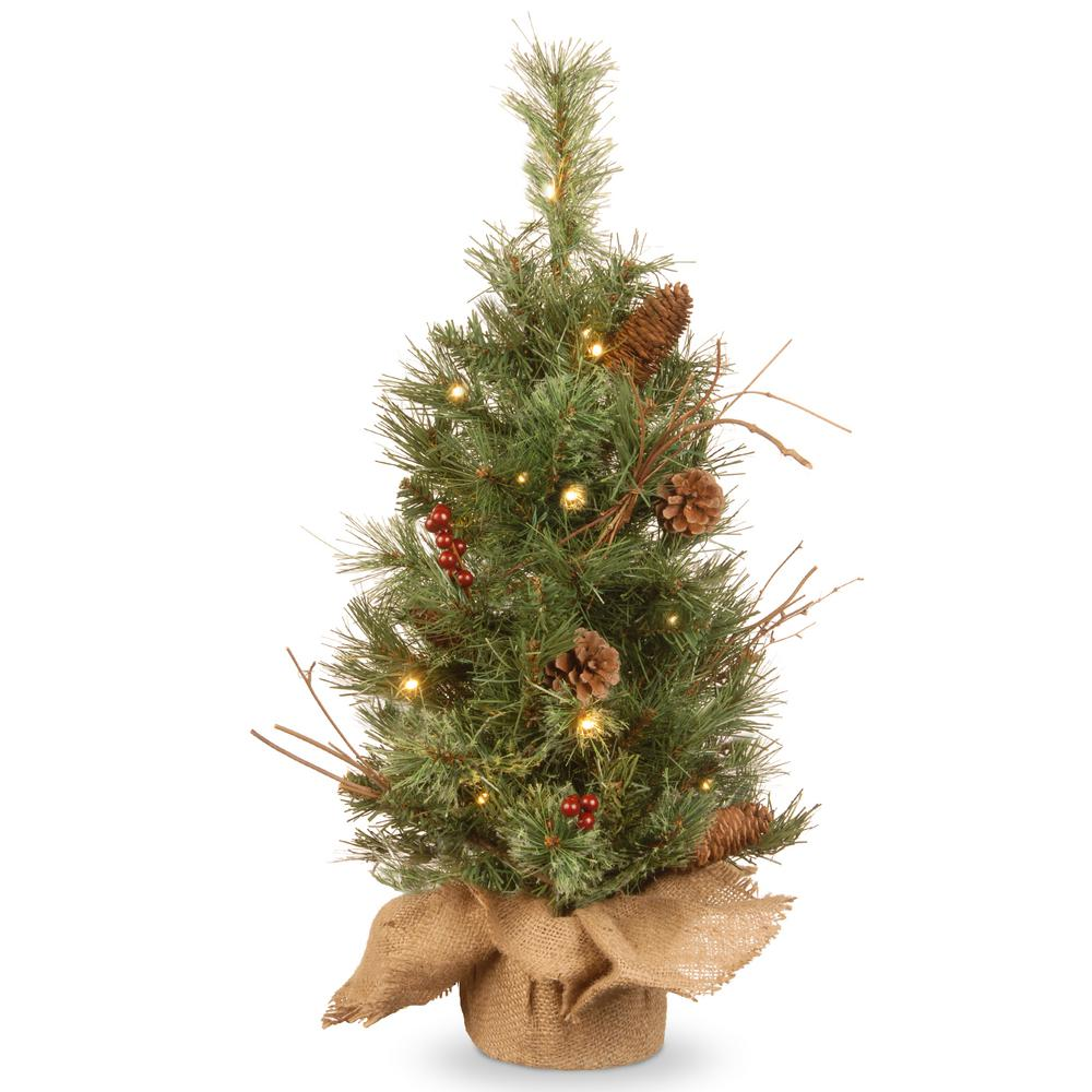 24 in. Glistening Pine Tree with Battery Operated Warm White LED