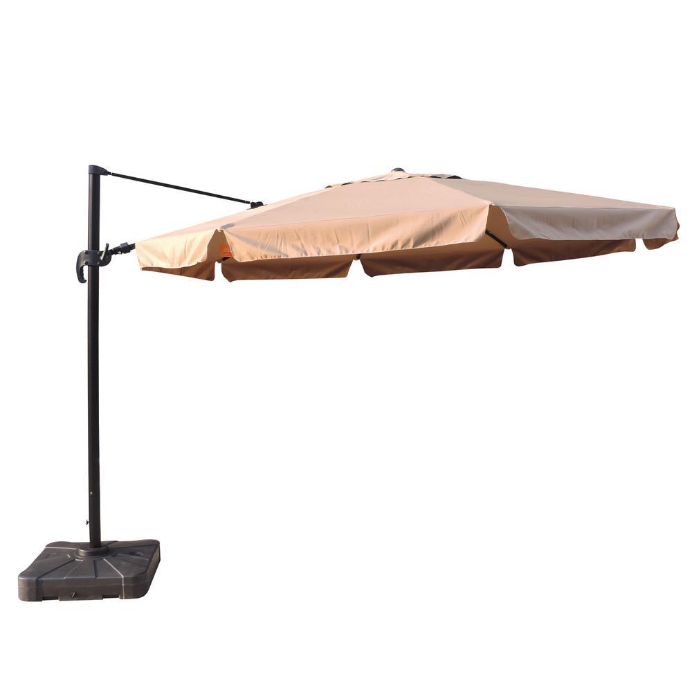 Victoria 13 ft. Octagonal Cantilever with Valance Patio Umbrella in Stone Sunbrella Acrylic