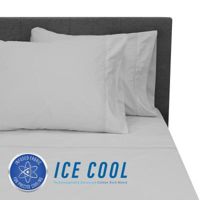 Ice Cool 4-Piece Grey 400 Thread Count Cotton/Nylon King Sheet Set