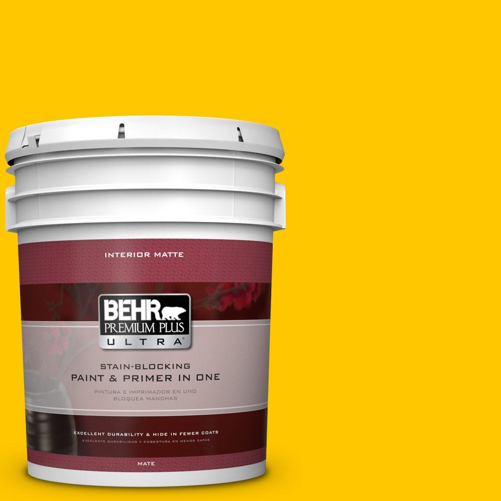 5 gal. #370B-7 Yellow Flash Flat/Matte Interior Paint