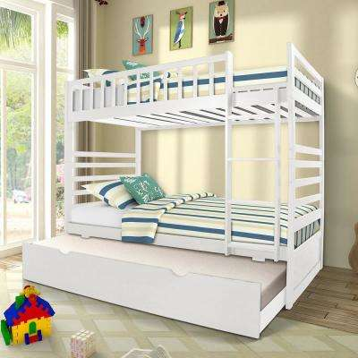 White Twin over Twin Solid Wood Bunk Bed with Trundle