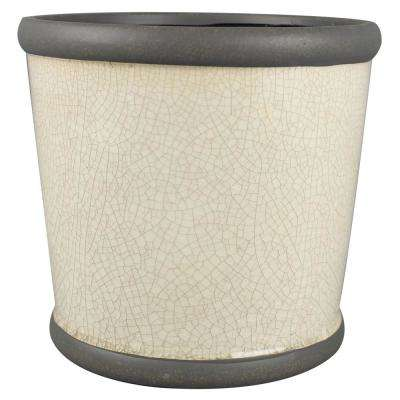 9 in. Ivory Belleville Crock Ceramic Planter