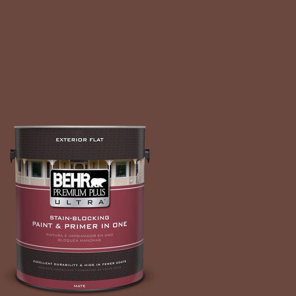 BEHR Premium Plus Ultra 1-gal. #BXC-45 Classic Brown Flat Exterior Paint