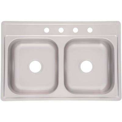 Essentials EZ Clip Install Drop-In Stainless Steel 33 in. 4-Hole 50/50 Double Bowl Kitchen Sink in Satin Stainless Steel