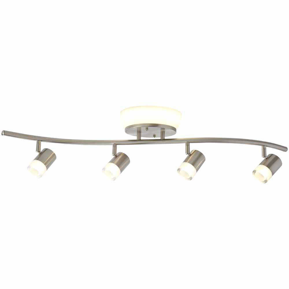 how to track lighting. 4-Light Brushed Nickel Integrated LED Track Lighting Kit With Flush Mount How To