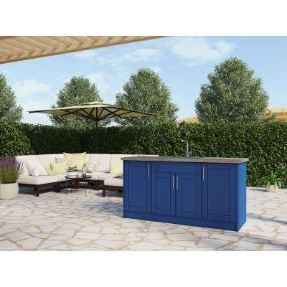 Sanibel Reef Blue 13 piece 67.25 in. x 34.5 in. x 25.5 in. Outdoor Kitchen Cabinet Island set
