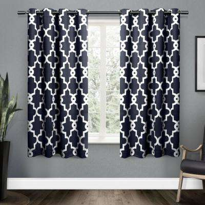 Ironwork 52 in. W x 63 in. L Woven Blackout Grommet Top Curtain Panel in Peacoat Blue (2 Panels)
