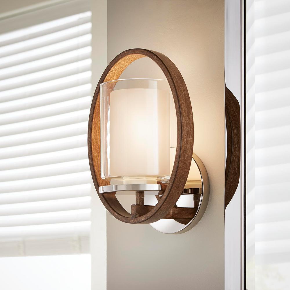 1-Light Polished Nickel/Corona Bronze Wall Sconce