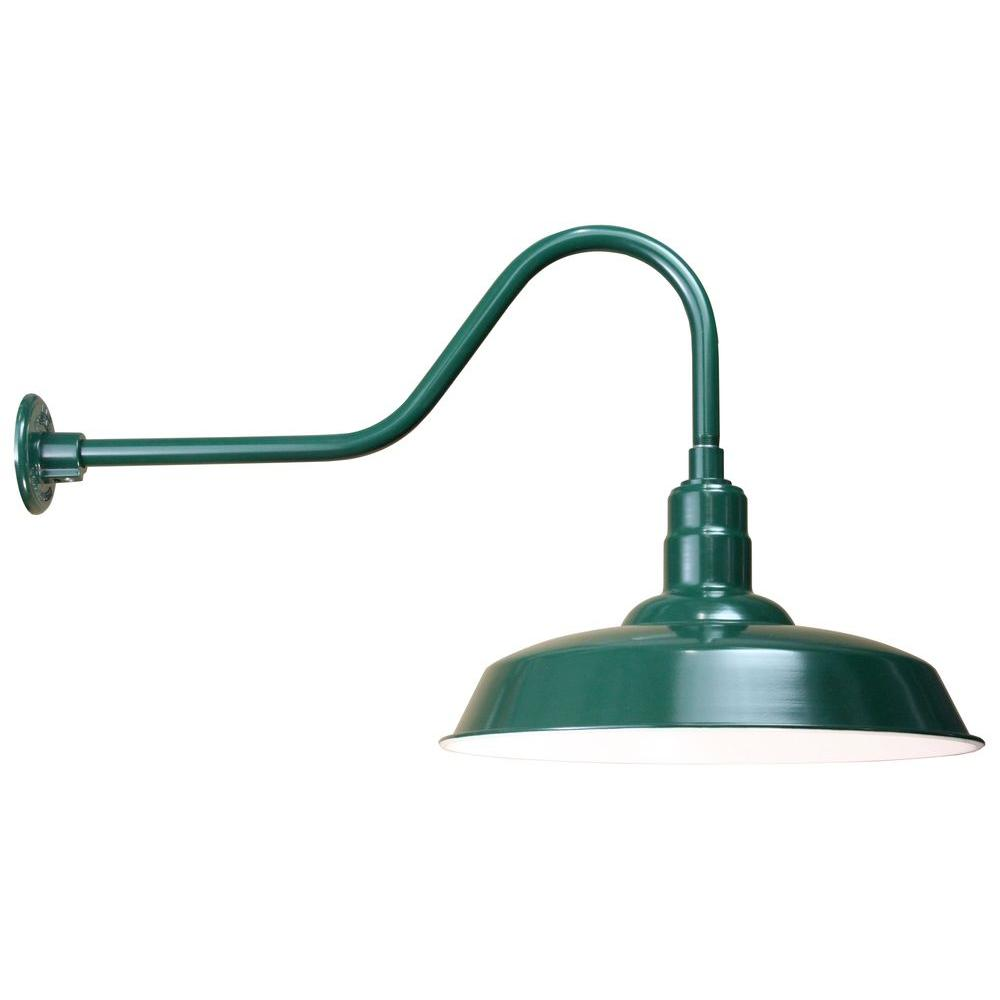 Illumine 1-Light Outdoor Green Angled Arm Wall Sconce