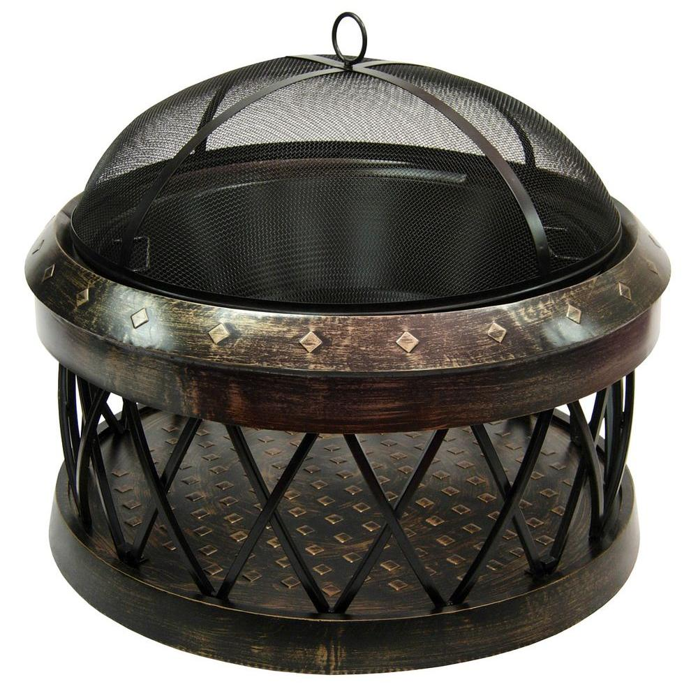 LANDMANN Bartow 33 in. Fire Pit in Antique Bronze-21355 - The Home Depot