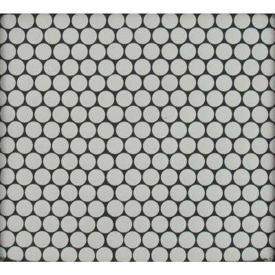 Penny Round Bianco 11.3 in. x 12.2 in. x 6 mm Ceramic Mesh-Mounted Mosaic Tile (14.36 sq. ft. / case)