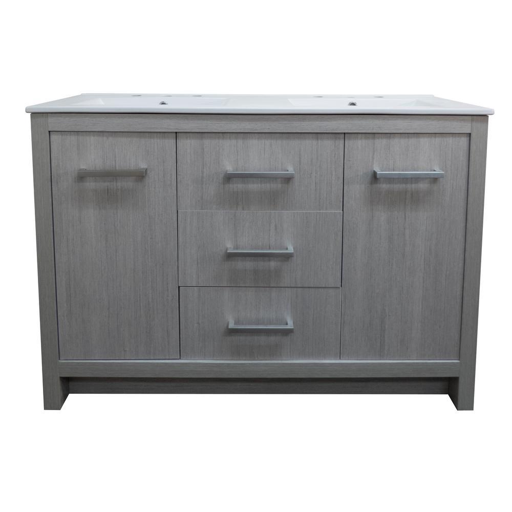 48 in. W x 18 in. D x 33.5 in. H Double Vanity in Gray Pine with Ceramic Vanity Top in White with White Basin