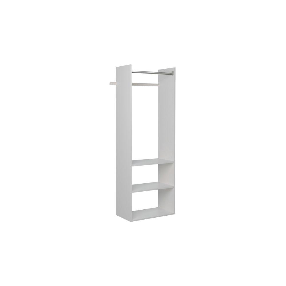 Martha Stewart Living 14 in. D x 25.25 in. W x 72 in. H Classic White Wood Hanging Starter Closet Kit