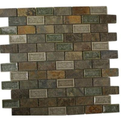 Roman Selection Emperial Slate 12 in. x 12 in. x 8 mm Mixed Materials Mosaic Floor and Wall Tile