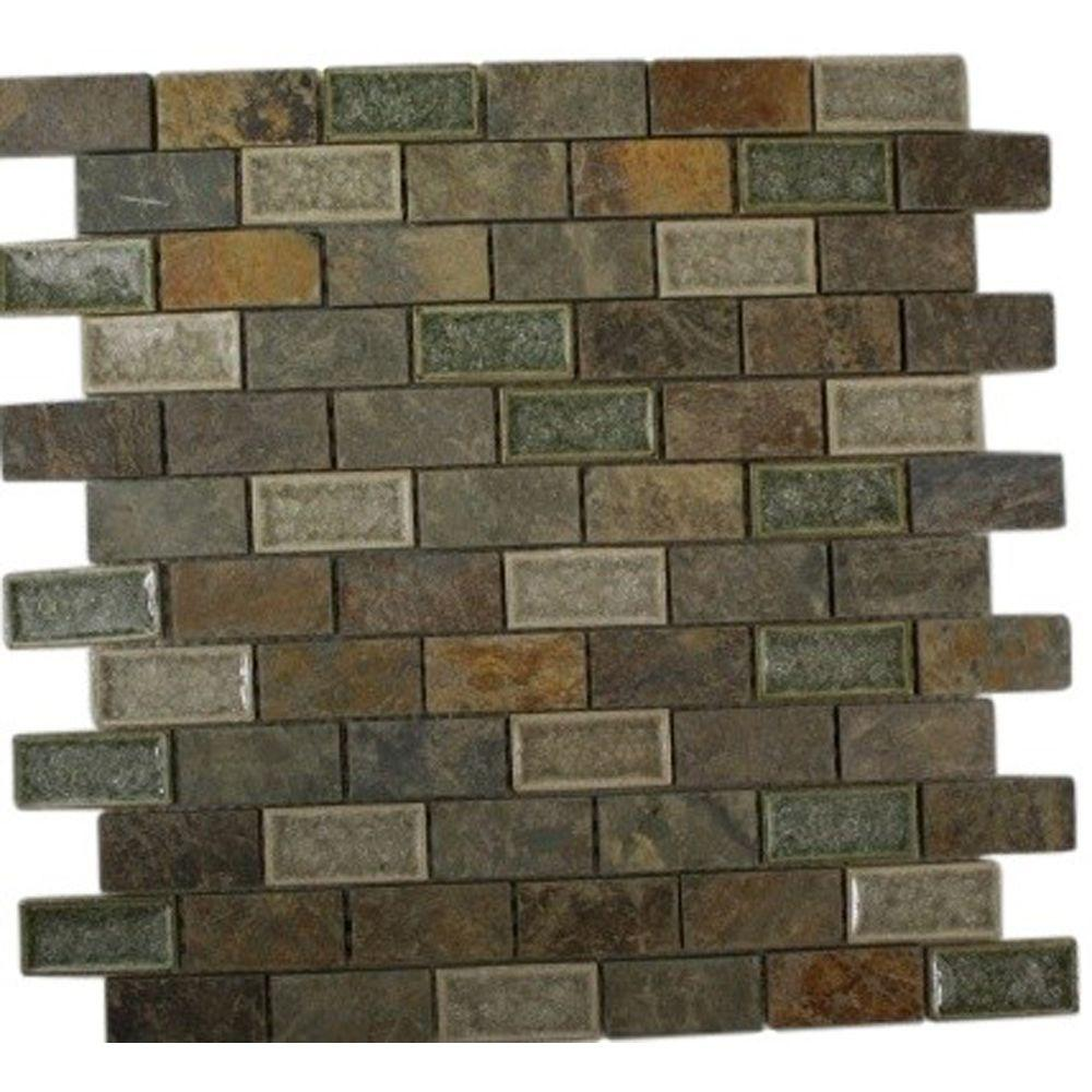 Ivy Hill Tile Roman Selection Emperial Slate 12 In X 8 Mm Mixed Materials Mosaic Floor And Wall