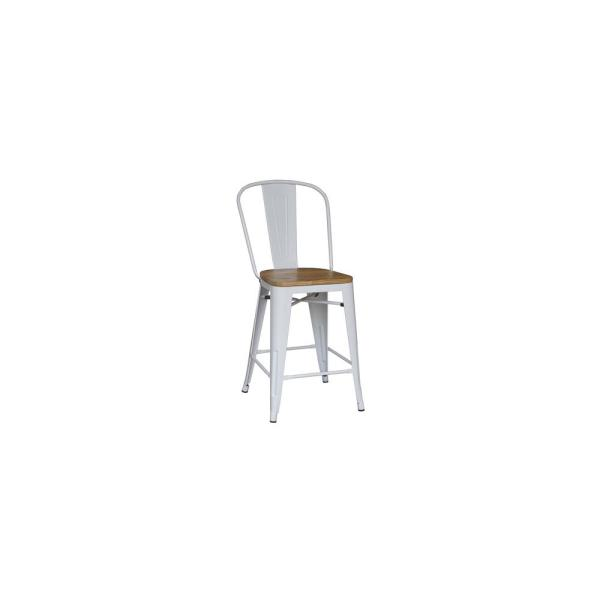 24 in. White Backed Counter Stool (Set of 2)