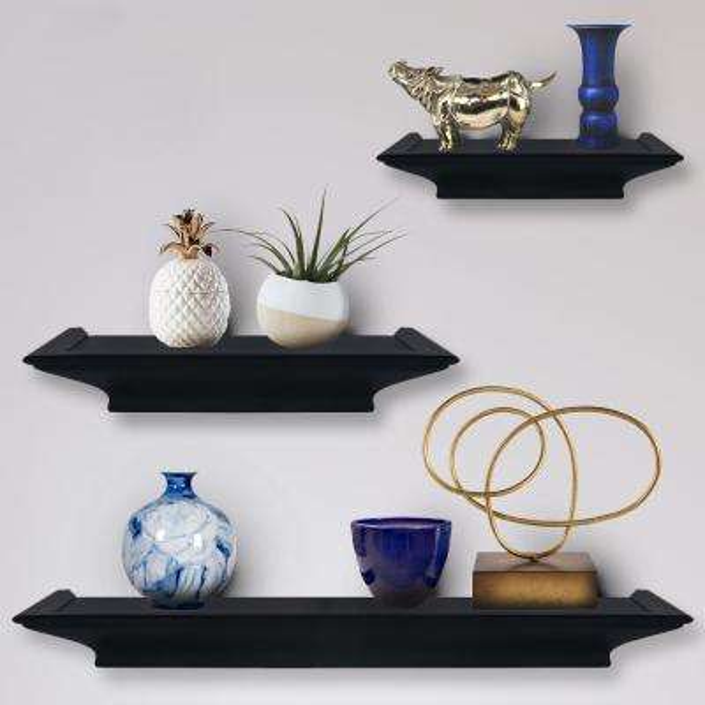 Boston of Burnes 31 in. W x 3.88 in. D Black 3 Piece Ledge Decorative Shelf