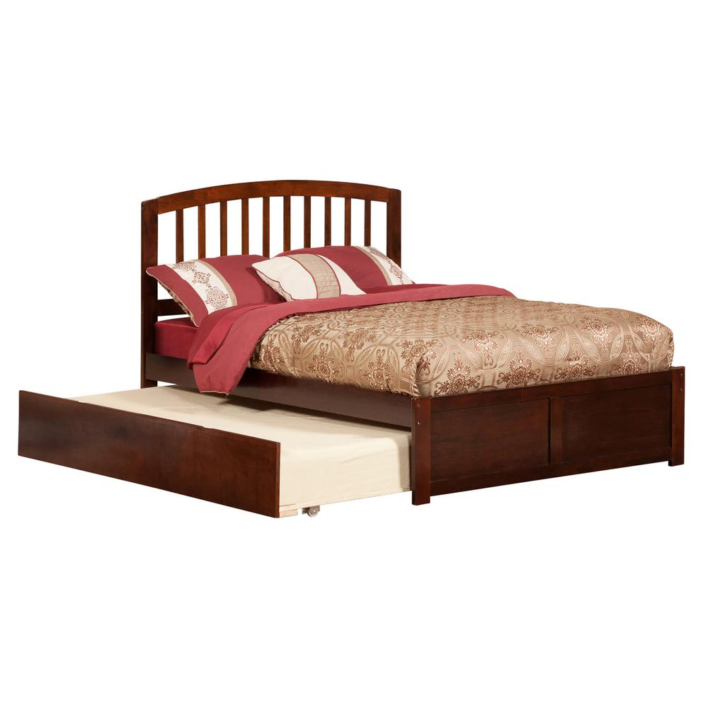 Richmond Walnut Full Platform Bed with Flat Panel Foot Board and