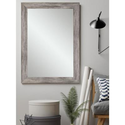 Weathered 33 in. W x 51 in. H Framed Rectangular Bathroom Vanity Mirror in Weathered Gray