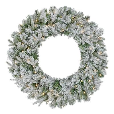 30 in Starry Light Battery Operated Flocked Frasier Fir LED Pre-Lit Artificial Wreath with Timer
