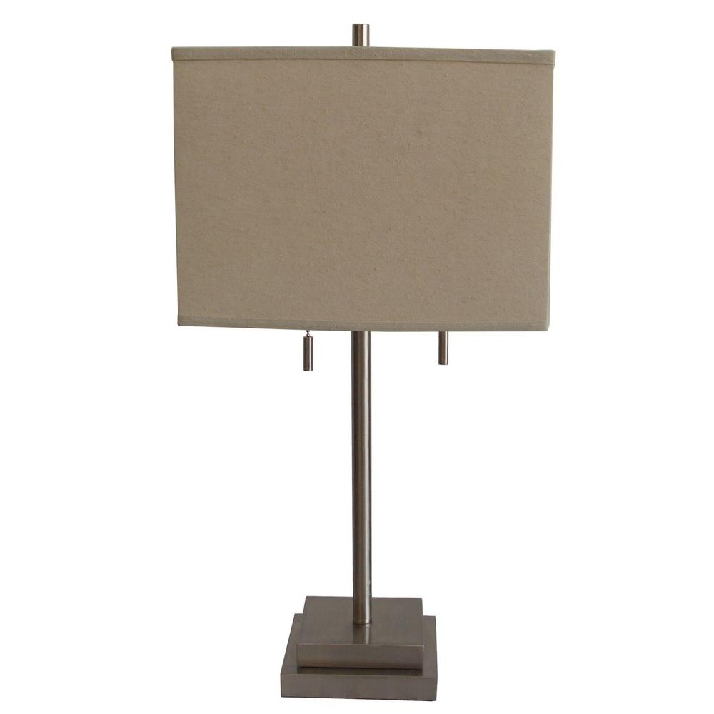 Fangio Lighting 20 in. Brushed Steel Metal Table Lamp