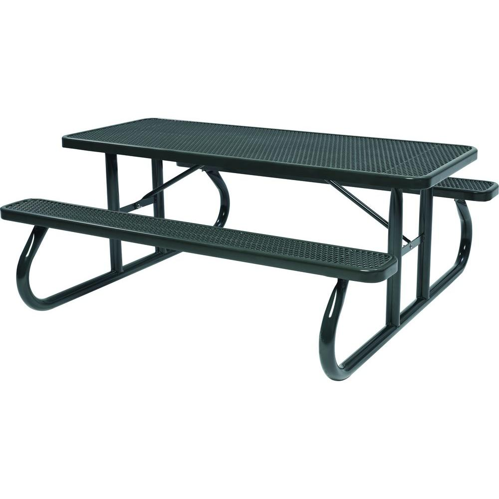 Tradewinds Park 8 ft. Black Commercial Picnic Table