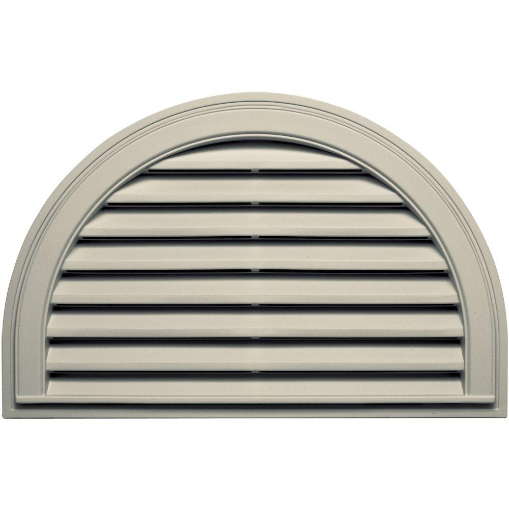 22 in. x 34 in. Half Round Gable Vent in Champagne