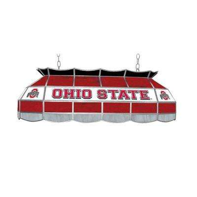 The Ohio State 3-Light 40 in. Stained Glass Tiffany Light