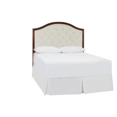 Colbridge Ivory Upholstered Queen Headboard with Tufting and Walnut Finish Trim (60.3 in W. X 64.4 in H.)