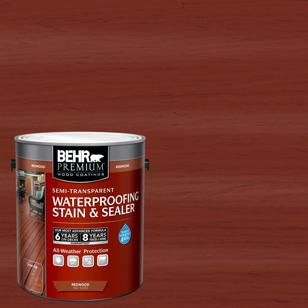 BEHR Premium 1 gal. #ST-330 Redwood Semi-Transparent Waterproofing Exterior Wood Stain and Sealer