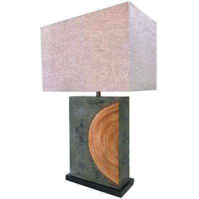 26 in. Green and Gold Table Lamp with Rectangular Linen Shade