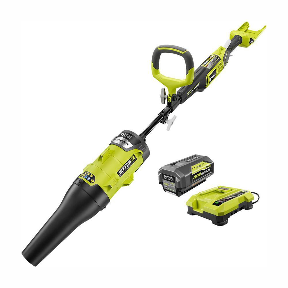 RYOBI 40-Volt X Lithium-Ion Cordless Attachment Capable 140 MPH 475 CFM Axial Blower - 2.6 Ah Battery and Charger Included