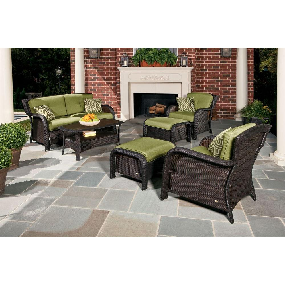 Hanover Strathmere 6 Piece Deep Wicker Patio Seating Set