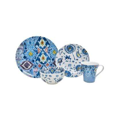 Indigo Fade 16-Piece Blue Dinnerware Set
