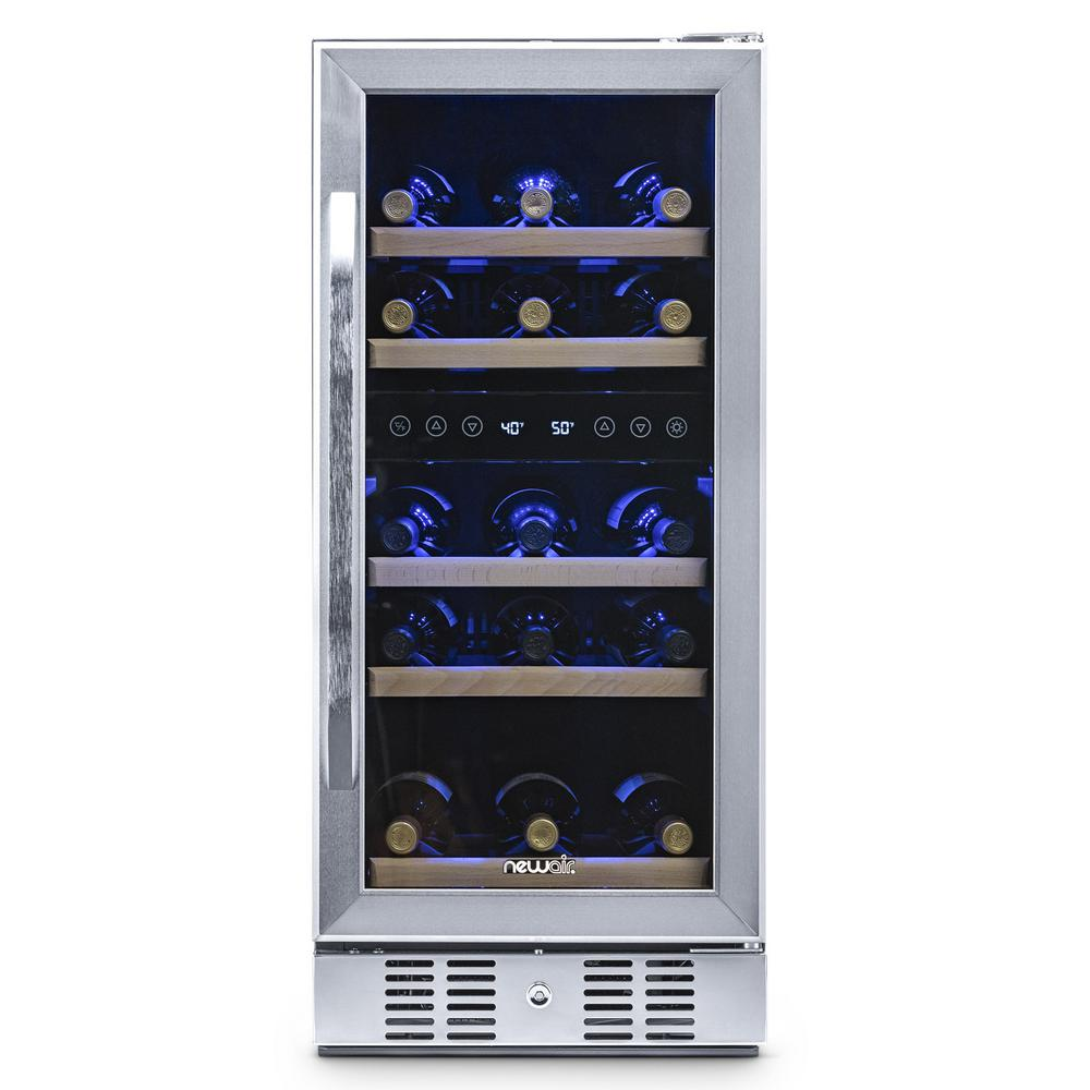 NewAir Dual Zone 29-Bottle Built-In Compressor Wine Cooler Fridge Quiet Operation and Beech Wood Shelves - Stainless Steel