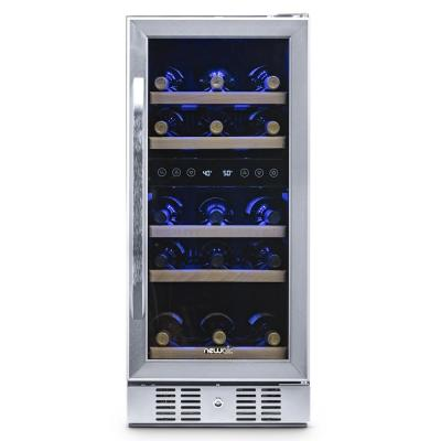 Dual Zone 29-Bottle Built-In Compressor Wine Cooler Fridge Quiet Operation and Beech Wood Shelves - Stainless Steel