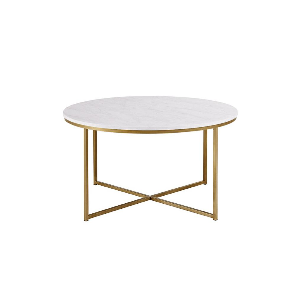 Faux Marble/Gold Coffee Table With X Base