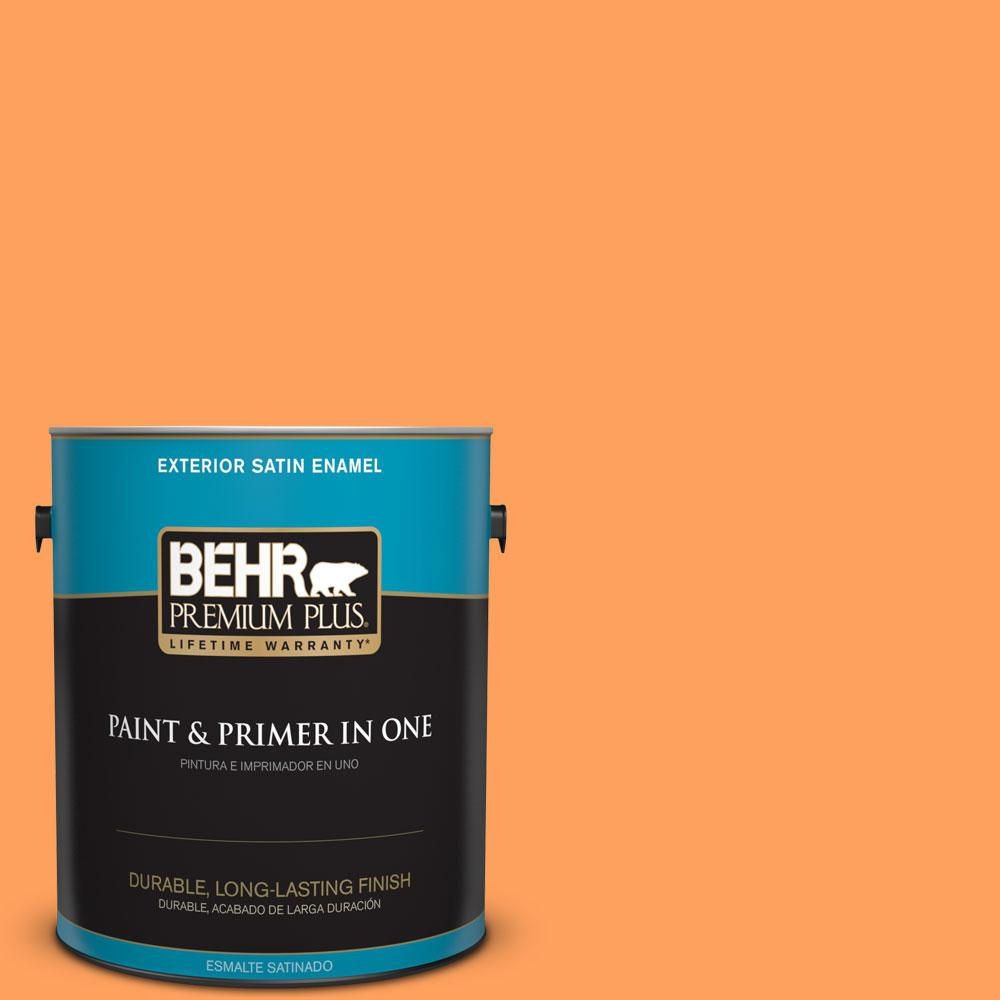 1 gal. #T15-10 Clarified Orange Satin Enamel Exterior Paint