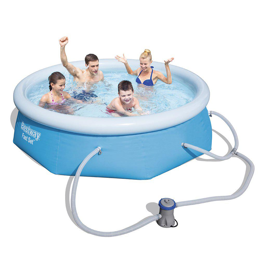 Bestway 8 ft. x 26 in. Fast Set Inflatable Above Ground Swimming Pool with  Filter Pump