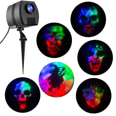 3-Light Projection Multi-Color LED Fire and Ice Specter Projector Stake with Sound and 6-Changeable Slides