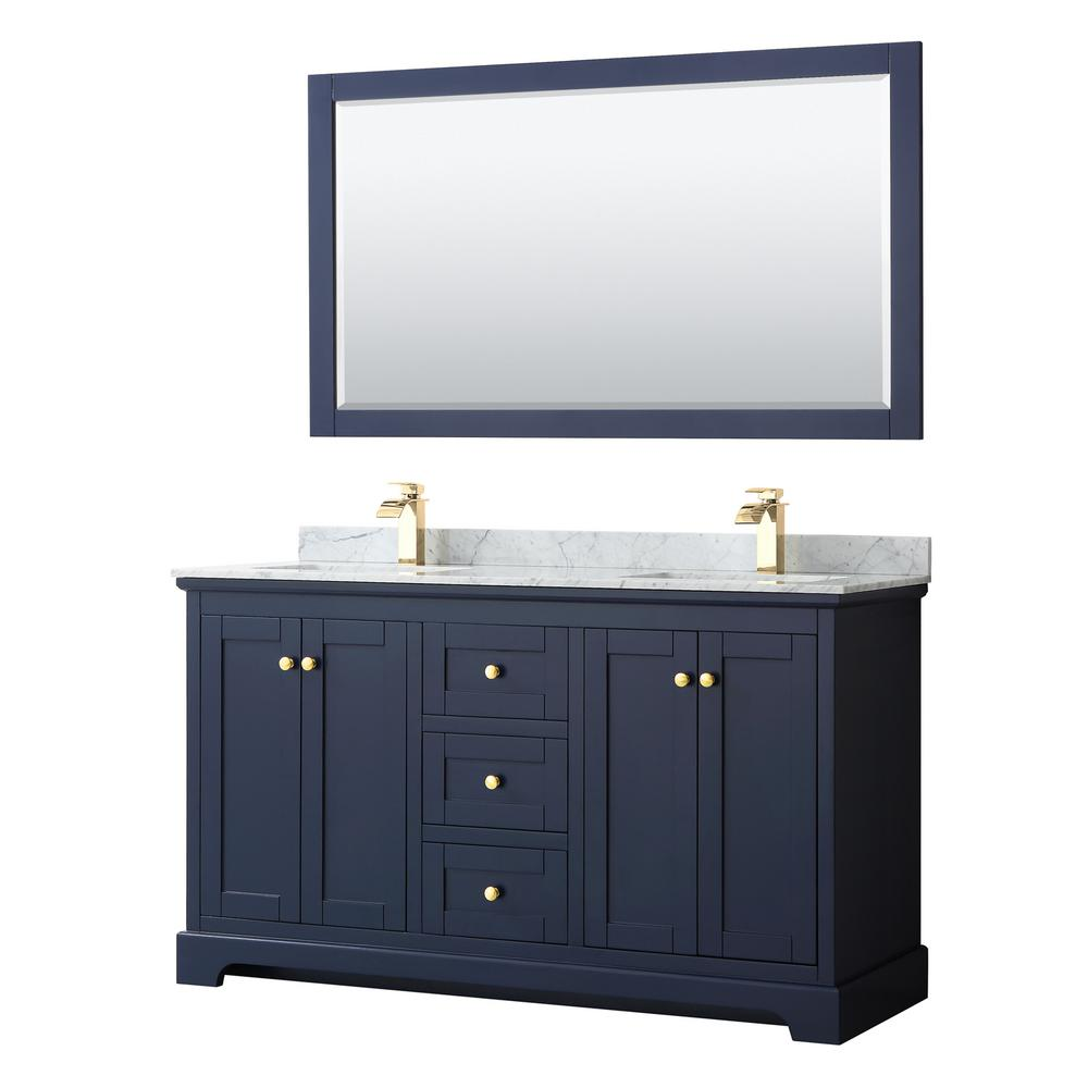 Wyndham Collection Avery 60 in. W x 22 in. D Bath Vanity in Dark Blue with Marble Vanity Top in White Carrara with White Basins and Mirror